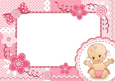 baby girl background: Pink baby frame     Illustration