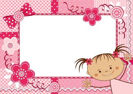 chequered ribbon: Pink children frame