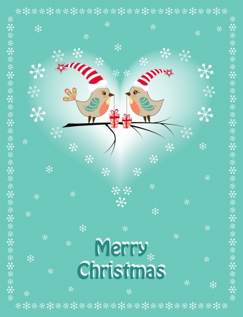 new year s card: Two Christmas birds
