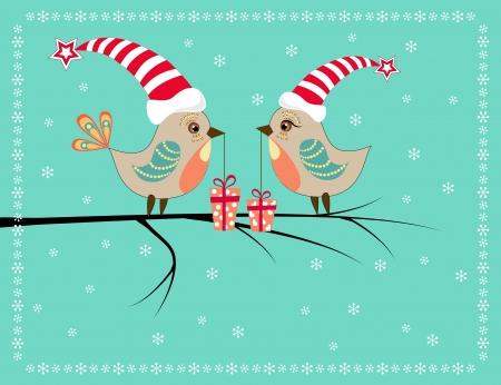 Two Christmas birds   Vector