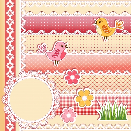 diaper baby: Collection design elements for scrapbook     Illustration