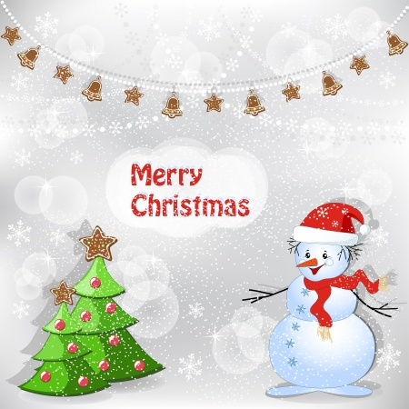 snowball: Winter background with snowman