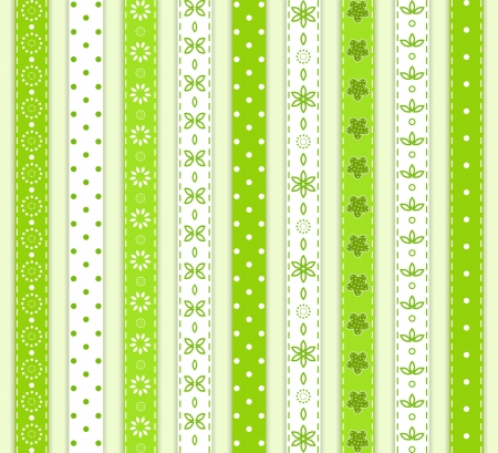 with sets of elements: Set green ribbon