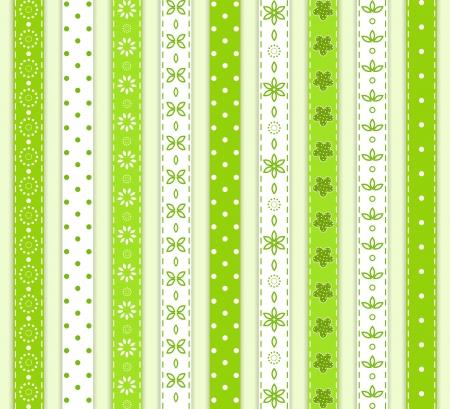 lace edges: Set green ribbon