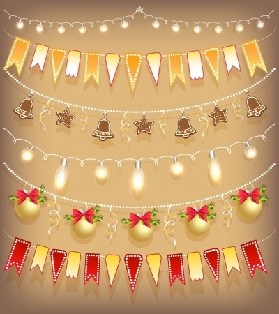 new year border: Collection Christmas garland