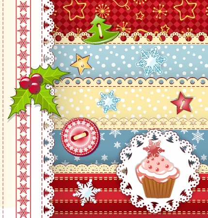baby cupcake: Collection design elements for scrapbook
