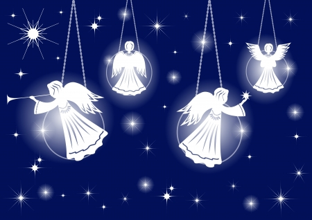 christmas angels: Christmas decoration  Angels  Vector illustration