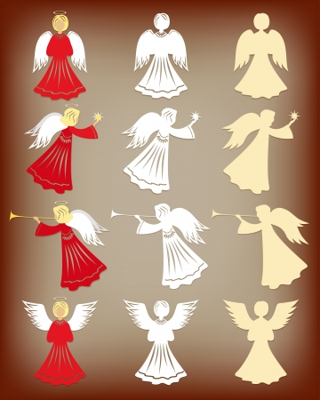 angel white: Christmas decoration  Angels  Vector illustration