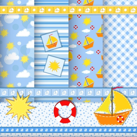 Collection for scrapbook  Ship  Patterns  Vector
