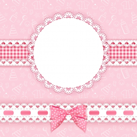 valentine s day background: Baby background with frame  Vector illustration