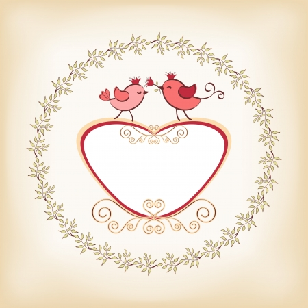 Valentine s frame with bird  Vector  Çizim