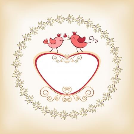 Valentine s frame with bird  Vector  Illustration