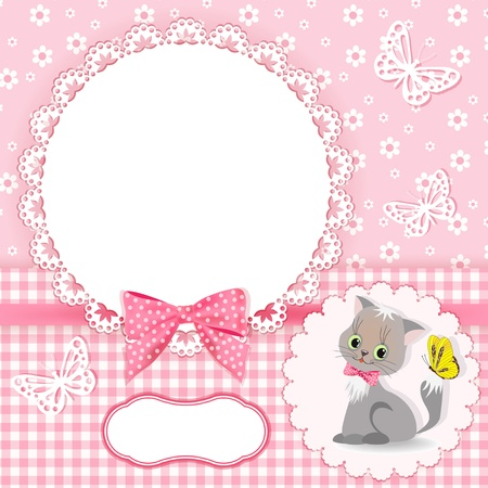 bowknot: Baby background with frame  Vector illustration
