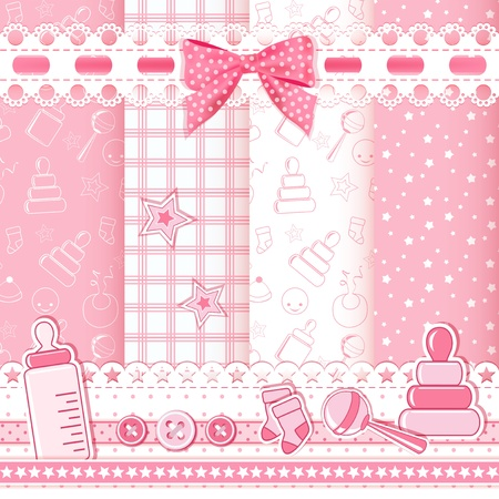 Set baby patterns  Vector illustration  Vector