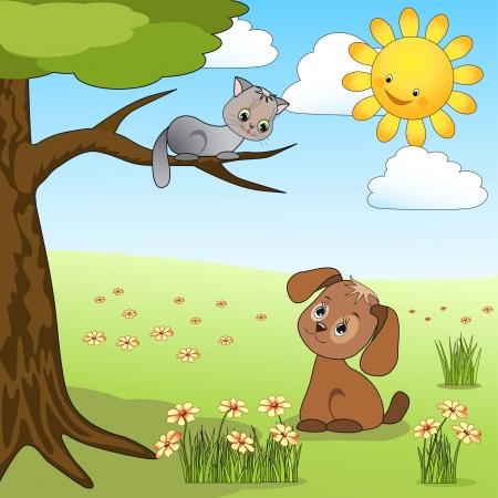 cartoon poes: Hond en kat Vector illuastration Stock Illustratie