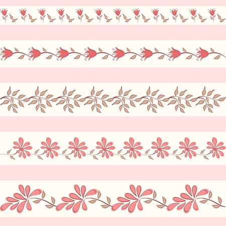 edging: Collection floral borders  Vector illustration  Illustration