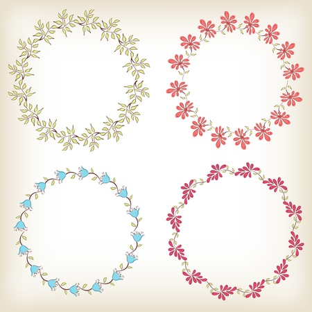 Collection floral frames  Vector illustration