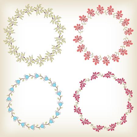 Collection floral frames  Vector illustration