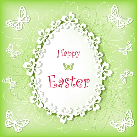 Easter card with egg and flower  Vector  Vector