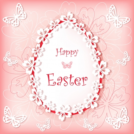 paper punch: Easter card with egg and flower  Vector