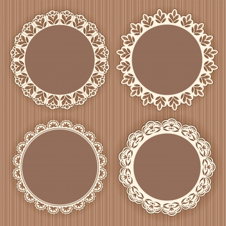 Collection lace frames  Vector illustration