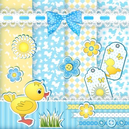 アヒルの子のベクトル イラスト赤ちゃんパターンを設定します。