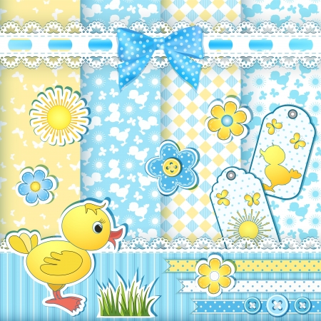 Set baby patterns  Duckling  Vector illustration
