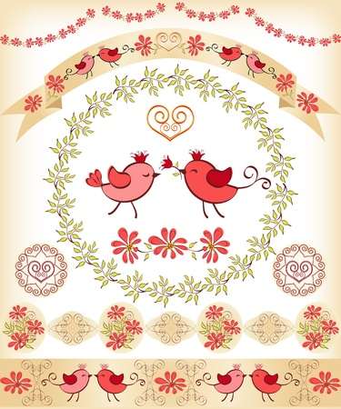 Set design elements with birds  Vector illustration  Vector