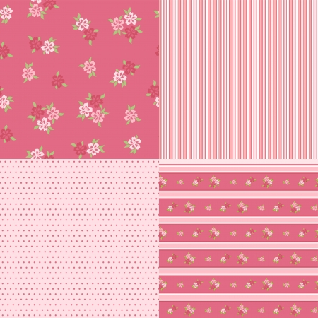 Set floral patterns for scrapbook  Vector