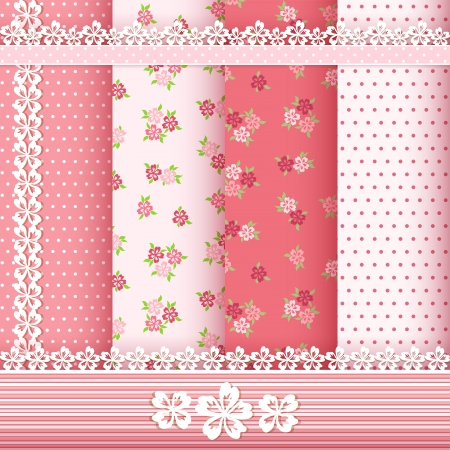 Set floral patterns and borders  Vector