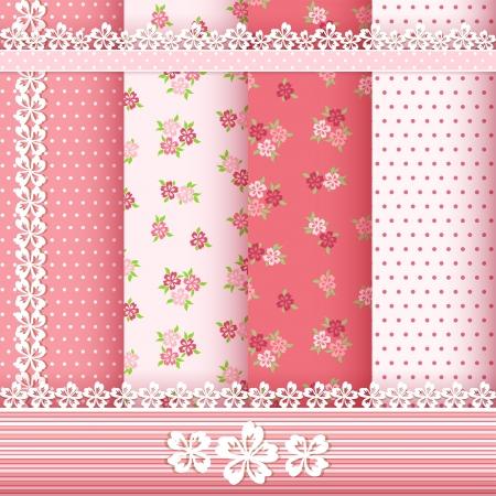 veters: Stel florale patronen en grenzen Vector