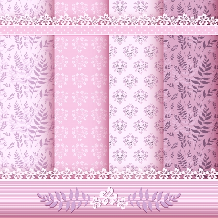 Set floral patterns and borders  Vector  Vector