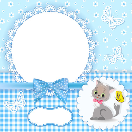 lace edges: Baby background with frame  Vector illustration