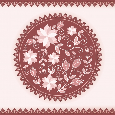 Floral round ornament  Vector illustration   Vector