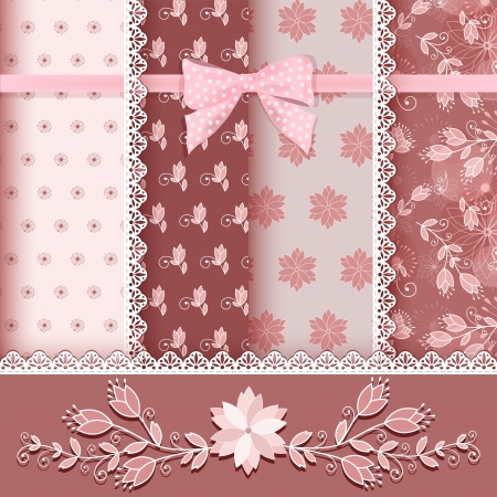 Set floral seamless for scrapbook  Vector illustration  Vector