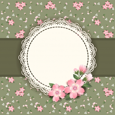 lace edges: Background  with frame and flowers  Vector
