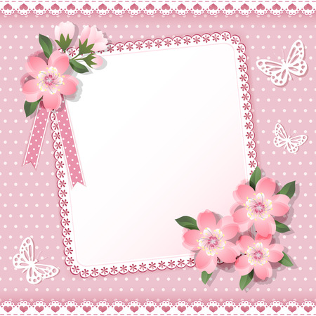 scrapbooking: Background  with frame and flowers  Vector