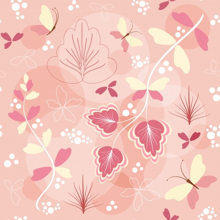 Floral background with butterfly  Vector  Vector