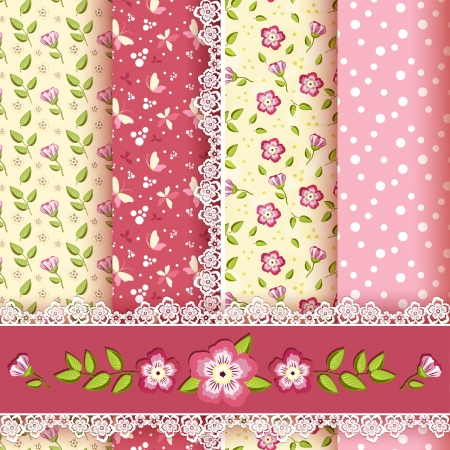 repetition row: Set floral seamless for scrapbook  Vector illustration  Illustration