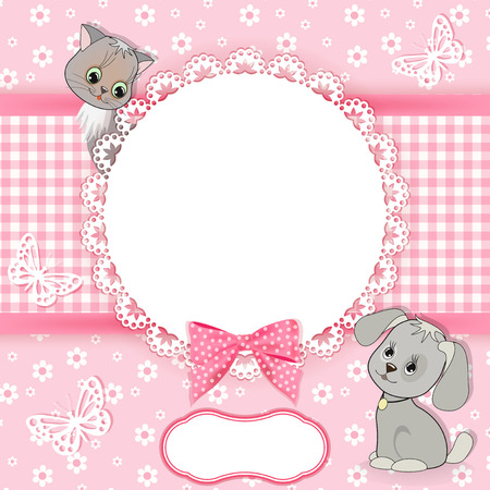 puppy and kitten: Baby background with frame  Vector illustration