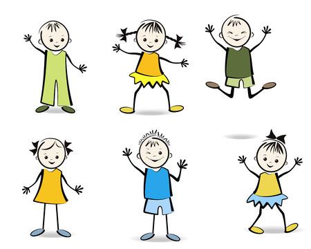 幸せな子供のベクトル図のグループ  イラスト・ベクター素材