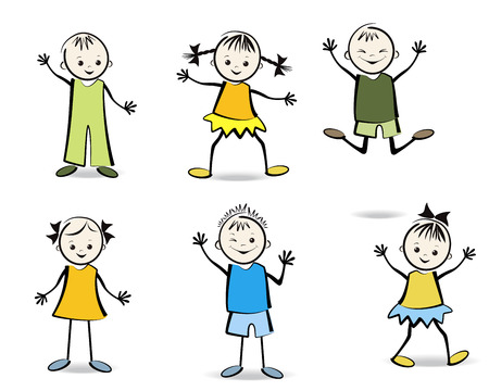 Group of happy children  Vector illustration