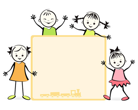 Group of happy children  Vector illustration  Vector