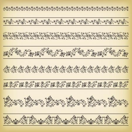 ornamentations: Insieme dei bordi Vector illustration Vettoriali