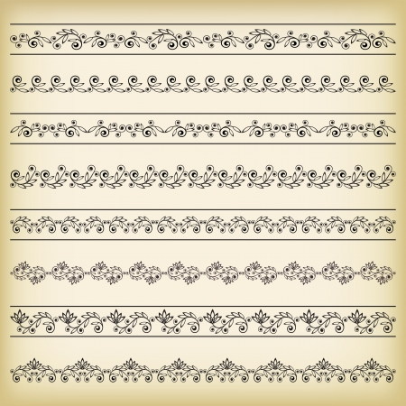 ornamentation:  Set of borders  Vector illustration  Illustration