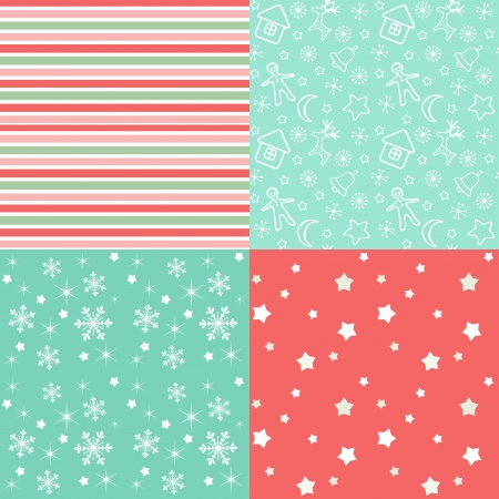 Set Christmas ornamental patterns  Vector illustration  Illustration