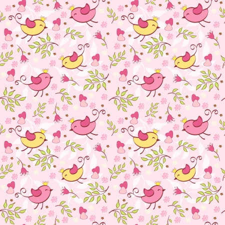 mottle: Floral seamless with birds  Vector illustration  Illustration