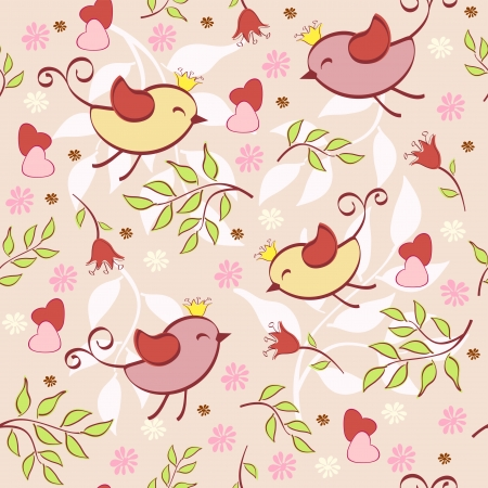 birds  silhouette: Floral seamless with birds  Vector illustration  Illustration