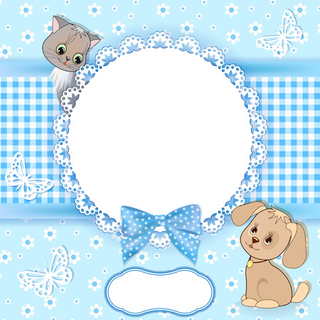 Baby background with frame  Vector  Vector