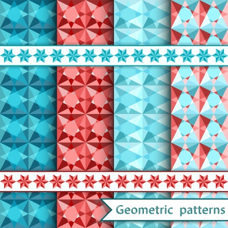 Set geometric ornamental patterns  Vector illustration  Vector